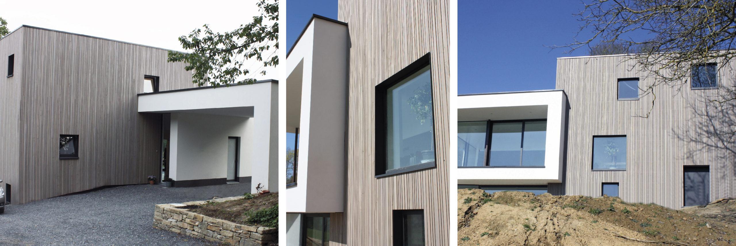 Dura Sidings biedt u een grote keuze aan profielen. Maak zo uw eigen ontwerp voor uw houten gevel. Hier bij deze eengezinswoning (ref.: 118015) werd met drie breedtes gewerkt.                           Product: Dura Patina, deklijst, Selekt, 21x40/21x65/21x90mm, lavagrijs.                                      Architectenbureau: ACMIA