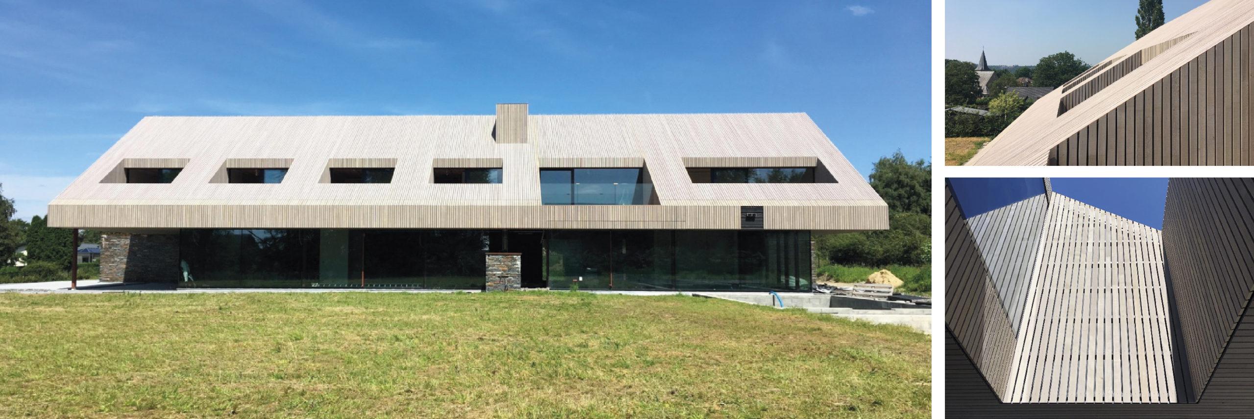 Einfamilienhaus (Ref.: 112064), wo das komplette Dach mit Dura Sidings gedeckt worden ist.  Produkt: Dura Patina, Deckleiste, keilgezinkt, 21x65mm, lavagrau. Architekturbüro: Crahay